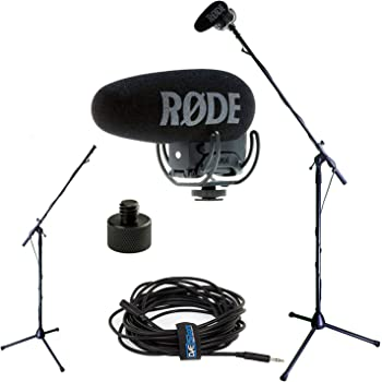 RODE VideoMic Pro+ w/Rycote Studio Boom Kit - VMP+, Boom Stand, Adapter, and 25' Cable