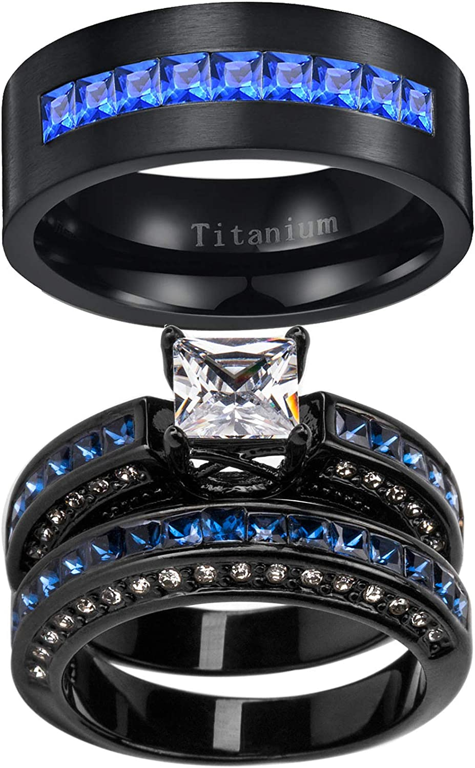 ringheart Black 2 Rings His and Max 64% OFF Cz Under blast sales Ring Hers Blue Couple W