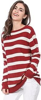 Allegra K Women's Round Neck Drop Shoulder Tunic Striped Sweater