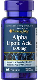 Puritans Pride Alpha Lipoic Acid 600 Mg-60 Capsules, 60 Count