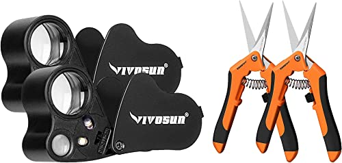 high quality VIVOSUN 2-Pack 30X 60X Illuminated outlet online sale Jewelers Loupe Foldable Magnifier and high quality 2-Pack Gardening Hand Pruner outlet sale
