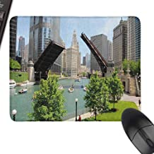Gaming Mouse Pad United States Downtown Chicago Illinois Finance Business Center Lake Michigan Avenue Bridge for Laptop, Computer and PC,9.8