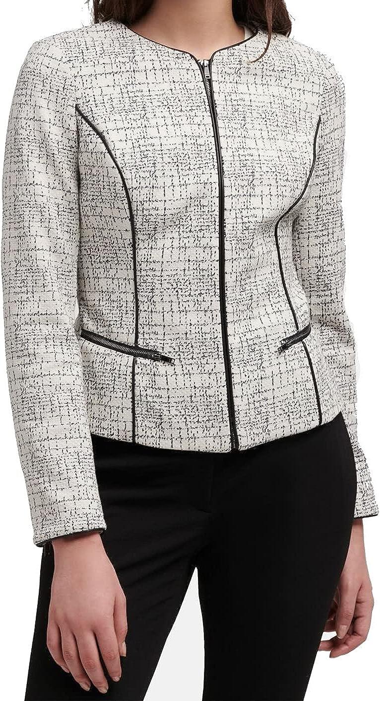 DKNY Womens Faux-Leather Trim Zip Up Jacket Blazer