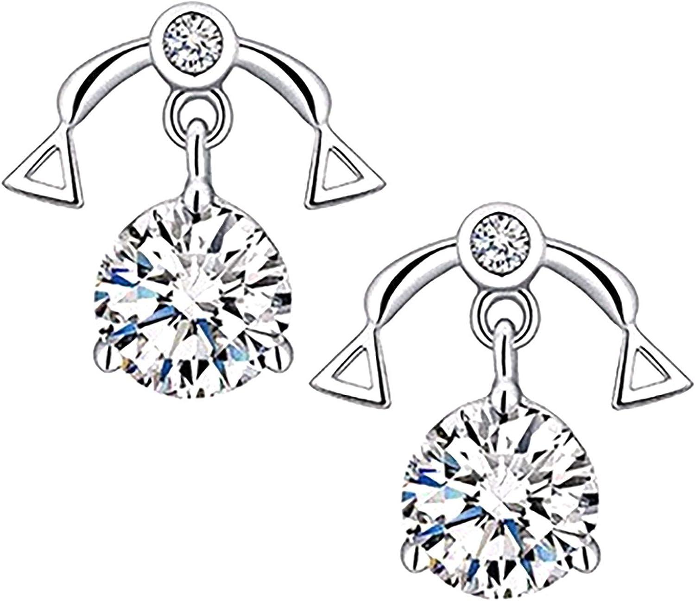Novania Constellation Diamond Halo Stud Earrings for Women Girls, Stainless Steel Piercing Earrings Hoop Earrings Drop Dangle Ear Cuff Earrings Birthday Wedding Jewelry Gifts (Libra)