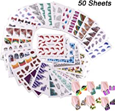 50 Sheets Nail Art Stickers Decals for Women, EBANKU Nail Art Water Transfer Sticker Decal Mixed Styles Nail Decals Manicure Tip Decoration