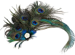 Song Qing 1920s Peacock Feather Costume Hair Clip Flapper Headpiece Headwear