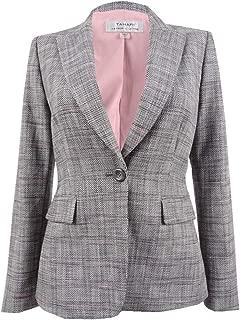 TAHARI Womens Gray Plaid One Button Jacket US Size: 10