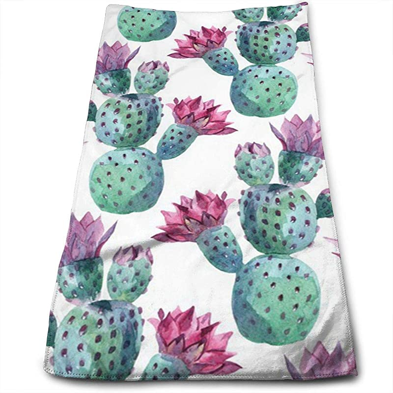 Winlock Cactus Watercolor Pattern Multi Purpose Microfiber Towel Ultra Compact Super Absorbent And Fast Drying Sports Towel Travel Towel Beach Towel Perfect For Camping Gym Swimming