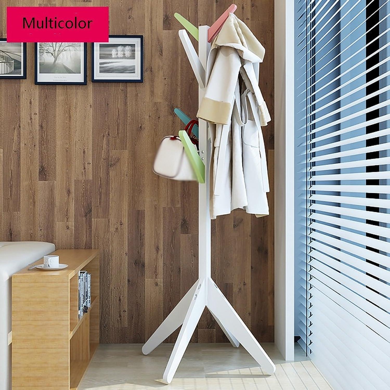 Creative Solid Wood Coat & Hat Stand Floor Hangers Simple Modern Household Bedroom Living Room Coat Hat Rack(60  170cm, color Optional) (color   Multicolor)