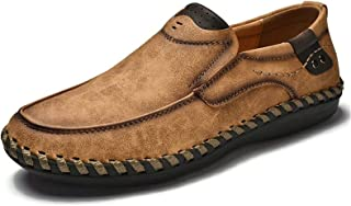 Phefee Mens Comfy Lightweight Round Toe Shoes for Mens Leather Loafer Flats Moccasins Non-Slip Wider Walking Shoes