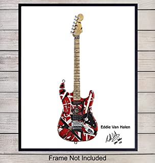 Eddie Van Halen Guitar Art Print, Wall Art Poster - Unique Home Decor and Great Inexpensive Gift for Musicians and Eighties 80s Music Fans - 8x10 Photo Unframed