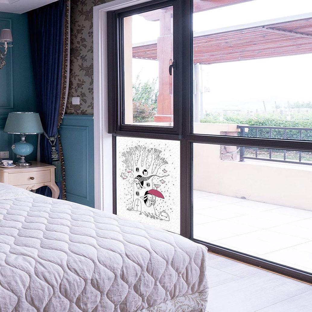 YOLIYANA Waterproof Window Film,Magical,for Bedroom Living Room Kitchen,Minimalist Habitat Drawing with Rabbits Tree Hole Houses,17''x24''