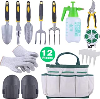 Sonyabecca 12pcs Garden Tools Set Gardening Gift Kit Ergonomic Gardening Tools with Garden Tote 6 Hand Tools Anti-Cutting Gloves Sprayer Knee Pads Plant Labels Plant Rope