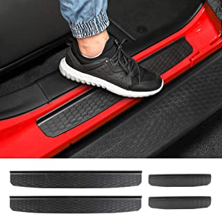 CheroCar Door Sill Guards Entry Scuff Plate Cover for 2018-2020 Jeep Wrangler JL JLU & 2020 Jeep Gladiator JT, Exterior Accessories, 4pcs/Set