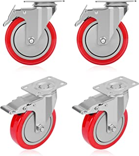 GloEra 4 inch Swivel Caster Wheels Heavy Duty 1200 LBS Capacity with Safety Dual Caster, 4 Pack All with Brake No Noise Lockable Wheels (Red)