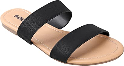 SODA Women's Comfy Dual Straps Slip On Sandals Browse