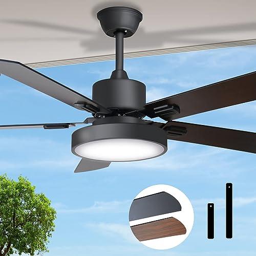 lowest Ceiling Fan, Obabala Ceiling Fan with Lights, 52-Inch 2021 2021 Fan Light with 5 Fan Blades, 6-Speed Reversible DC Motor, 2 Colors-3 Levels Dimming-Black Ceiling Fan online sale
