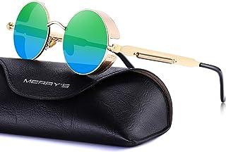 0c74f6c9e70 MERRY S Gothic Steampunk Sunglasses for Women Men Round Lens Metal Frame  S567