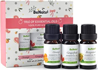 Benatu Essential Oils Basic Set of 3 Pack (Orange, Grapefruit, Bergamot), Pure Concentrated Oil, Refresh Body and Mind, Skin Care Massage, Air fresh for Room 10ml each