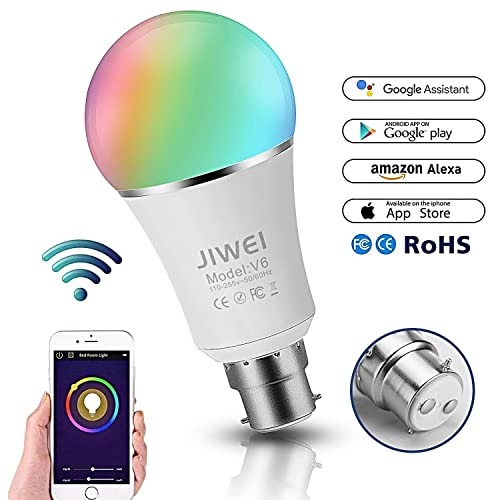 WiFi Smart Bulb, Alexa, Google Home : WiFi LED Bulbs, B22 RGBW 7W Colour Changing Timing Function, Remote Controlled by iOS/Android Devices, 60W Equivalent, No Hub Required, [Energy Class A+]- JIWEI