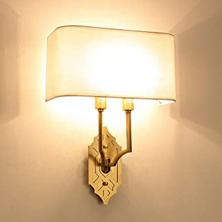 MX Light Fixture Wall Lamp European-Style Copper Bedroom Living Room (Fabric Shade) 2 Lamp Wall Lamp