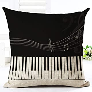 Cyril Chaplin Retro Note Cushion Cover Cotton Linen Creative Vintage Musical Notes Decorative Pillowcase Piano Pillow Case for Sofa Cover