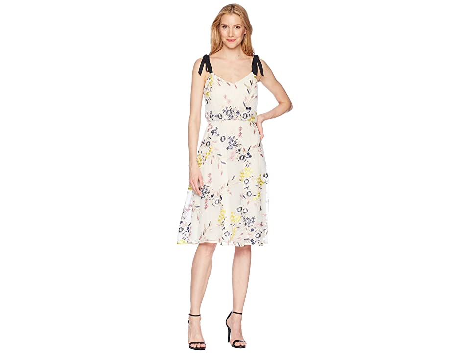 Donna Morgan Embroidered Mesh Blouson Midi with Self Tie Shoulder (Yellow/Navy Multi) Women