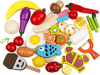 HOWADE Play Food Set 30 PCS, Wooden Cutting Food Magnetic Fruits and Vegetables Kitchen Set Educational Toy for Preschool ...