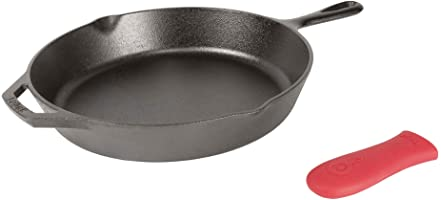 Lodge L10SK3ASHH41B Pre-Seasoned Cast Iron Skillet with Red Silicone Hot Handle Holder, 12-Inch