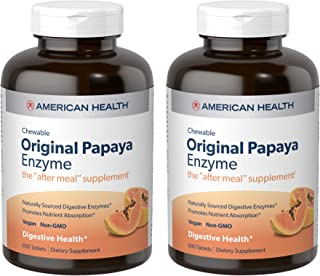 American Health Original Papaya Enzyme Chewable Tablets, 2 Pack - Promotes Nutrient Absorption and Helps Digestion - Glute...
