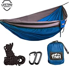 Rakaia Designs (TNH Outdoors) Single Camping Hammocks - Lightweight Nylon Portable Hammock, Best Parachute Hammock for Backpacking, Camping, Hiking, Beach with Free Heavy Duty Carabiner Clips
