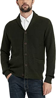 Kallspin Men's Merino Wool Blended Shawl Collar Button Cardigan Sweater with Pockets
