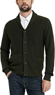 Men's Shawl Collar Button Down Cardigan Sweater Merino Wool Blended Regular Fit Heavy Knitwear with Pockets