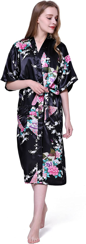 Cityoung Damen Kimono Morgenmantel aus Satin Bademantel Schlafanzug 3/4 arm Schwarz