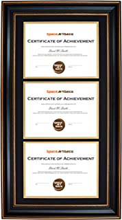 Space Art Deco Ornate Gold Black Design Vertical Triple Certificate/Diploma Frame - Black Over Gold Double Mat - for Three 8.5x11 Certificates and Diplomas- Sawtooth Hangers - Wall Mount (Portrait)