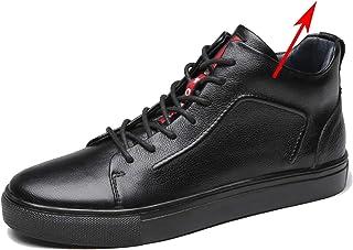 Scarpe Casual da Uomo in Pelle Tinta Unita Low-Top Autunno Inverno Sneakers Calde Fodera in Pelliccia Sintetica Scarpe Pia...