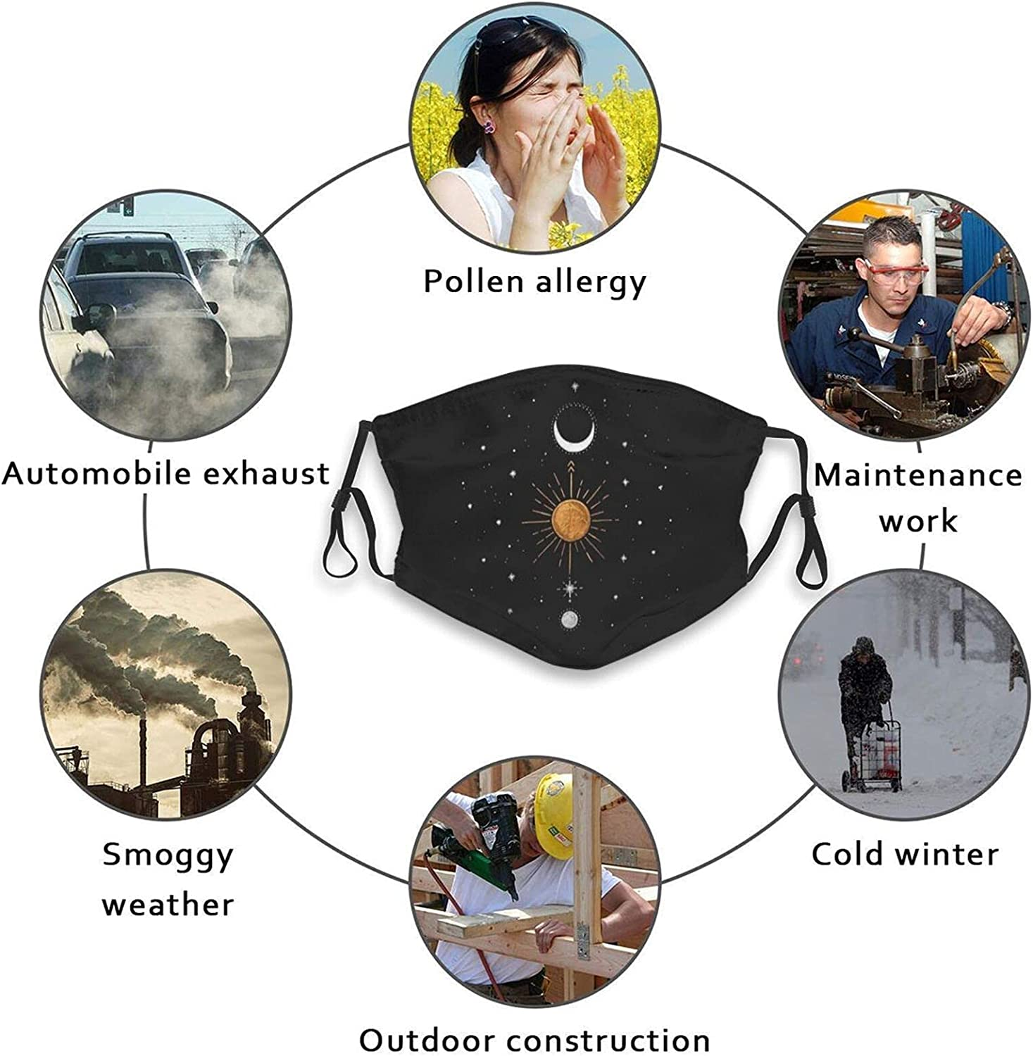 Dutas Funny Moon Face Mask Scarf, Washable Adjustable Balaclavas with 2 Filters, for Men & Women Adult