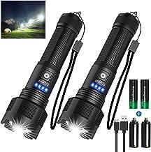 Banral LED Taschenlampe Extrem Hell Hohes Lumen,(Mit 2 pc 18650 Akku) IPX4 Wasserdicht USB Aufladbar Taktische Taschenlamp...
