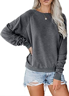 Women's Casual Crewneck Long Sleeve Fleece Pullover Sweatshirts Solid Color Fuzzy Warm Outerwear Tops