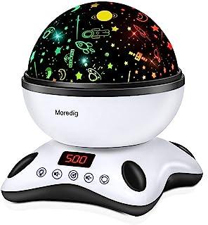 Moredig Veilleuse Bébé Musicale et Lumineuse, Musique Lampe Projecteur Etoile 360° Rotation + 8 Couleurs + Minutage + Télé...