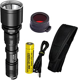 Nitecore MH25GT 1000 Lumen 494 Yards USB Rechargeable LED Coyote Hunting Light with Lumen Tactical Adapters and 40mm Red Filter (NFR40) (Upgrade for MH25)