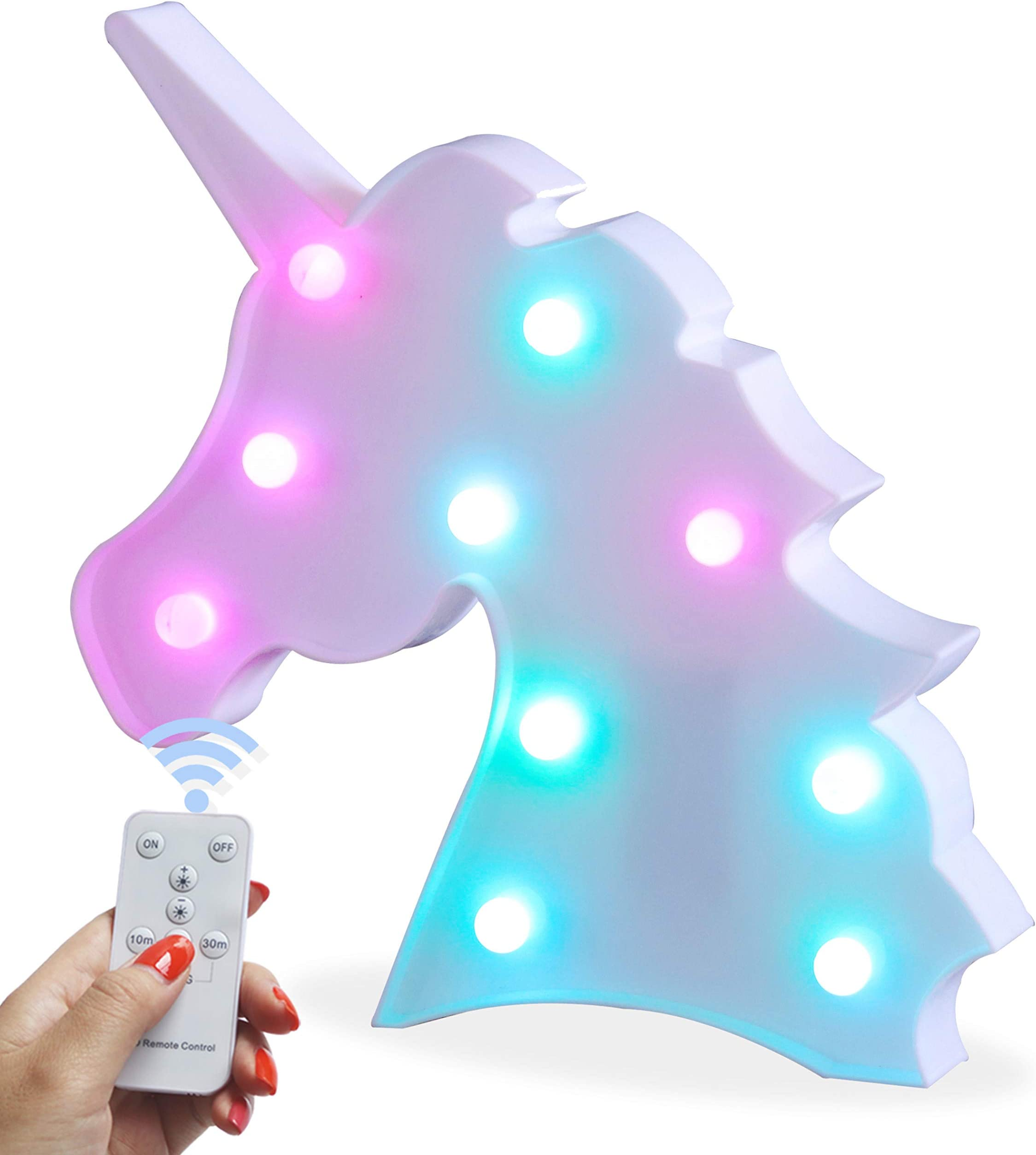 Colorful Unicorn LED Light, Battery Operated Night Light with Remote, Decorative Color Changing Marquee Signs for Kids' Room, Bedroom, Gift, Party, Christmas, Home Decorations (Colorful Unicorn)