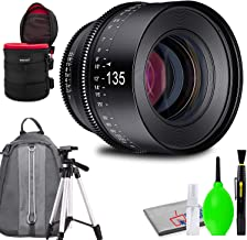 Rokinon Xeen 135mm T2.2 Lens with MFT Mount Bundled with Protective Case, Padded Backpack, Tripod and Cleaning Kit