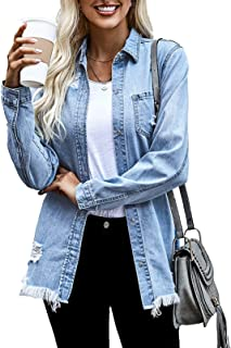 Dokotoo Women's Ripped Distressed Casual Long Sleeve Basic Button Down Denim Jean Jacket Denim Jacket