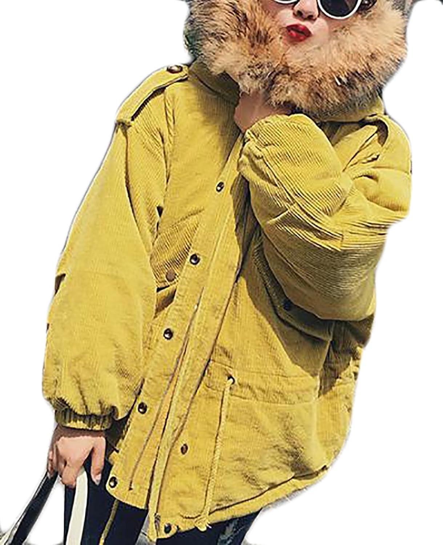 Papijam Womens Plus Size Faux Fur Hood Winter Thicken Corduroy Parka Coat