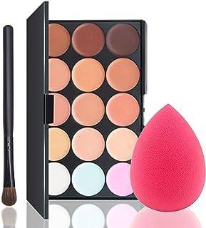Concealer Palette 15 Colors Makeup Palette Professional Contour Eyeshadow Face Cream contour kit with Sponge Puff & Makeup...