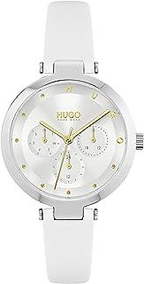 ساعة يد كوارتز وعرض انالوج وسوار من الجلد للنساء من هوغو موديل 1540086