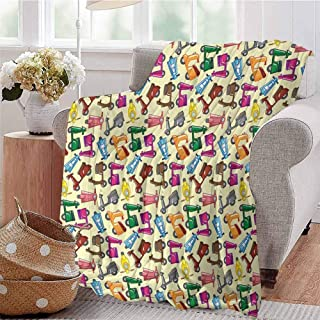 KFUTMD Boys Throw Blanket Colorful Cute Motorcycles Collection Pattern Toys Fun Childish Decorating Art Blue Yellow Dorm Bed Baby Cot Traveling Picnic W60 xL80