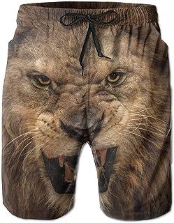 khgkhgfkgfk Hot Elastic Holiday Shorts The Moment Style Men Roaring Lion X-Large