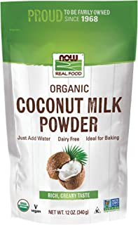 NOW Foods, Organic Coconut Milk Powder, Dairy Free, Just Add Water, 12-Ounce